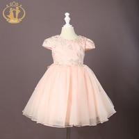 Nimble Girls Dress Cute Knee length Ball Gown Girls Voile Embroidery Wedding Dress Roupas Infantis Menina Kids Dresses for Girls