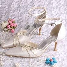 (20 Цветов) Вызвало Ankle-обертывание Острым Носом Летние Сандалии Свадебные Женская Обувь Свадебная