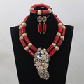 Fantastic Wine Red Coral Necklace Jewelry Set for Party Gold Brooch Pendant Jewelry Accessories New Free Shipping CNR742