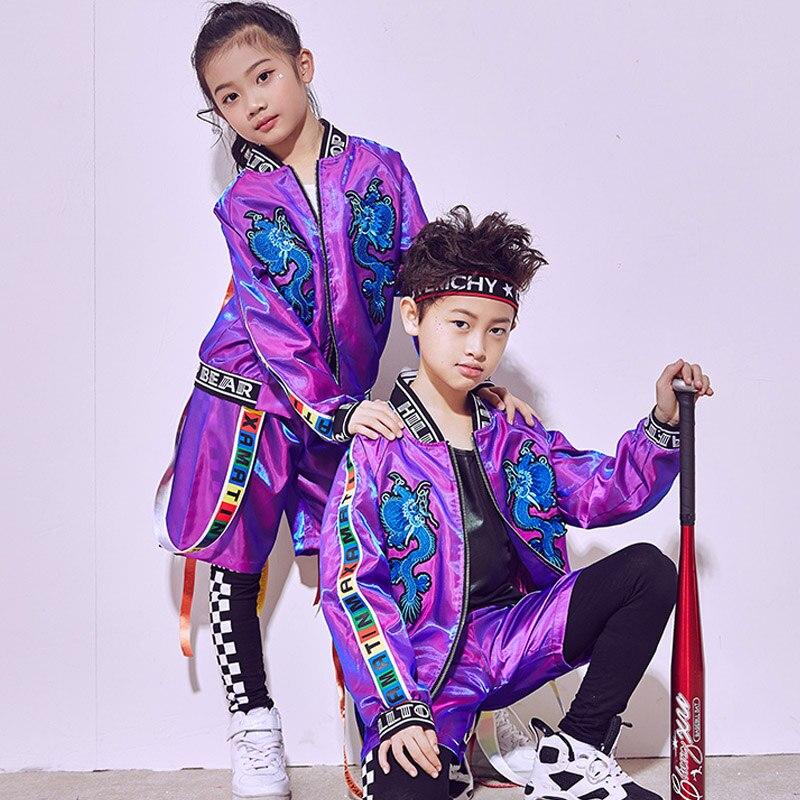 I bambini Vestiti di Prestazione Costumi di Danza Jazz Hip-Hop di Modo di Pratica Della Fase Costume Viola Vestito di Sport Per I Bambini BL1096