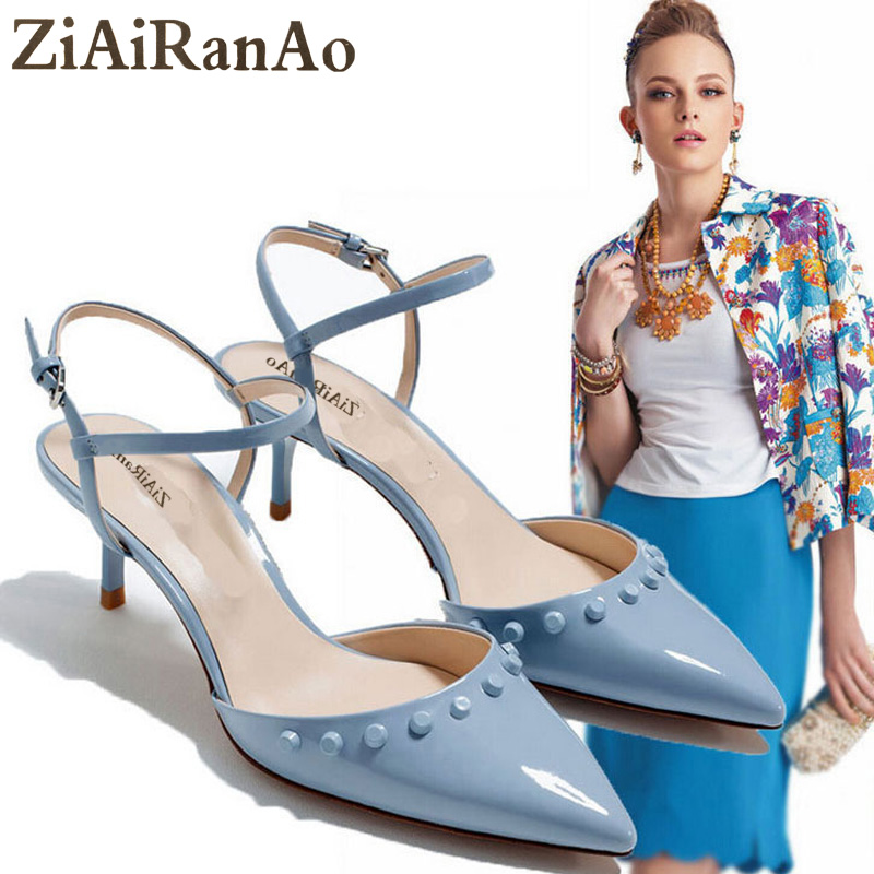 ZIAIRANAO Summer Sexy Lady Sandals Rivet Women Pumps 5 CM High Heels Fashion Pointed Toe Shoes Woman Sandal Hollow Low Heels summer sexy sandals woman shoes 13 candy colors women pumps fashion pointed toe 11cm high heels big size 35 43 freeshipping