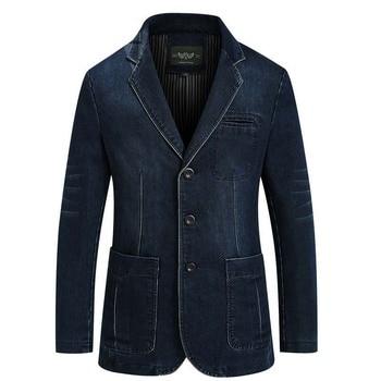 High Quality Denim Jacket Suit for Men Blazer Suit Casual Single Breasted Cotton Slim Fit Blazer Jacket Blue Plus Size 4XL