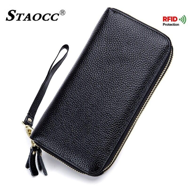 Double Zipper Wallet Women Rfid Genuine Leather Wallet Long Woman Clutch Phone Purse Female Cowhide Large Capacity Wallets Black