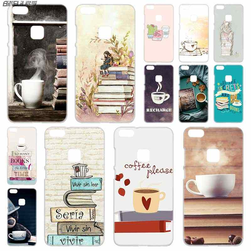 BINFUL PC Transparent for Huawei P30 p20 lite case P8 P9 P10 Lite Plus Pro P Smart  2019 Mini Books Coffee