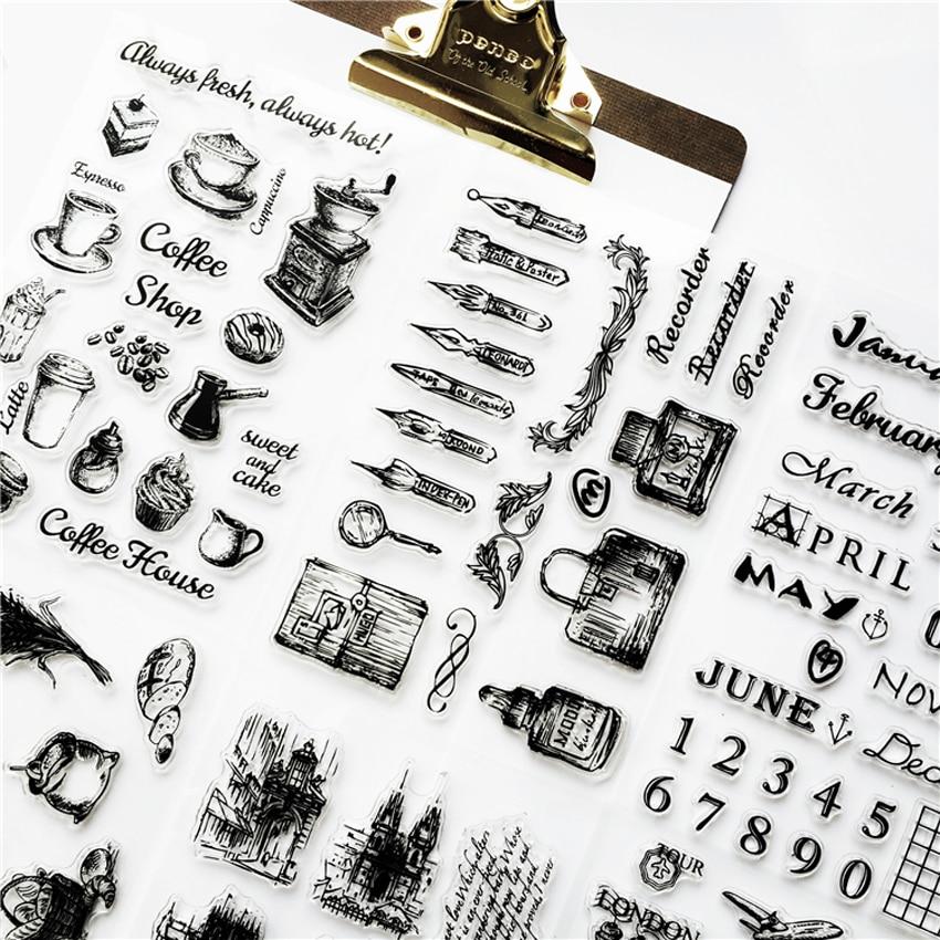 1 шт. Ретро штамп Прозрачная силиконовая печать самолет Строительство башни ясно штампы офисные принадлежности DIY студент канцелярские