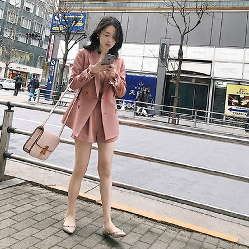 Suit Women Casual 2 Pieces Sets Business Suits Ladies Elegant Solid Korean Style Blazer +Pants And Blazer +Shorts Suits  DS50437