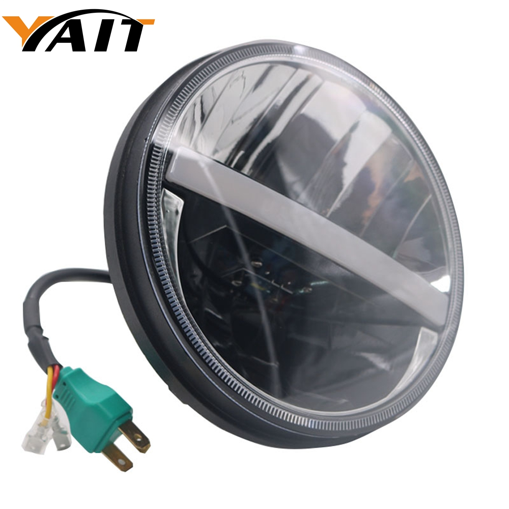 купить Yait Motorcycle Black Halo Angel Eye DRL Led Headlamp For Harley Davidsion Softail Slim Fat Boy 7 Inch H4 LED Daymaker Headlight недорого