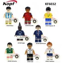 Super heróis único venda equipe de futebol messi ronaldo pogba ibrahimovie beckham tijolos blocos de construção de brinquedos para crianças presente kf6032