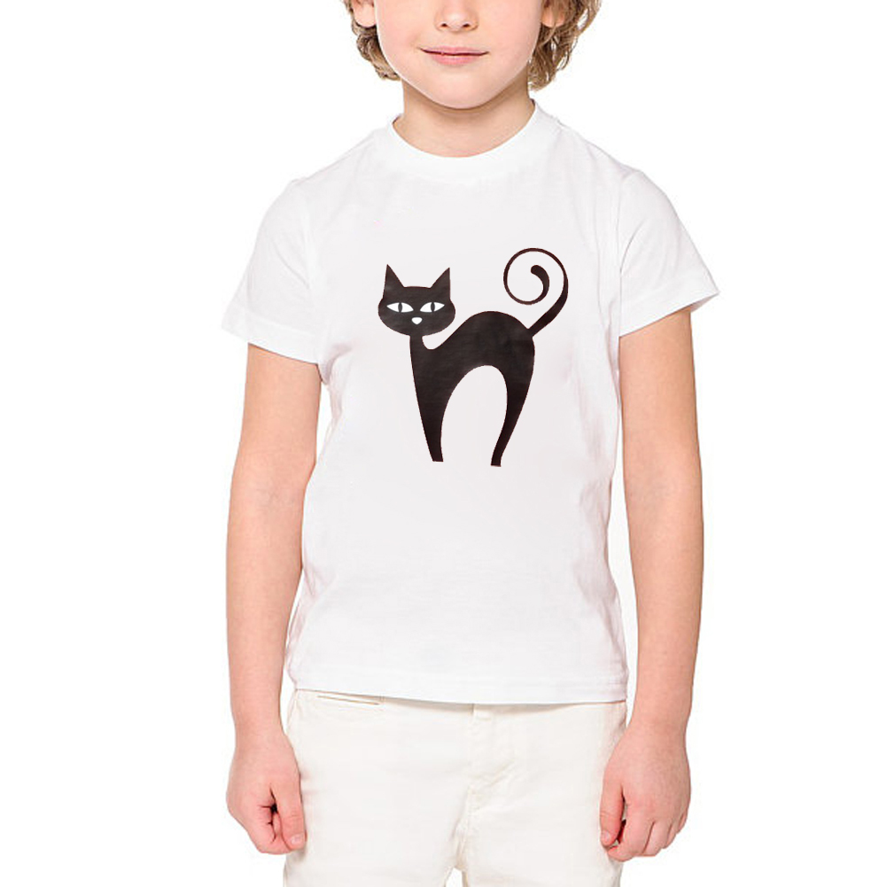 141f4b8e Halloween shirt black cat t shirt boys funny glowing eyes t-shirt halloween  gift For Girls cute animal tshirt print ETM-R2097