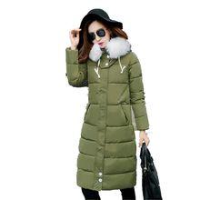Down cotton-padded jacket Coat 2016Fashion Women Winter Loose Big yards Leisure Hooded fur collar Thicken Medium long Coat G1322