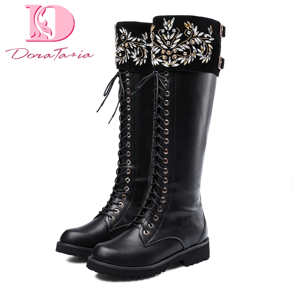 Doratasia 2018 Cow Leather Large Size 34-43 Autumn winter Boots Woman Shoes Zip Up women Knee High Boots Female Woman ShoesDoratasia 2018 Cow Leather Large Size 34-43 Autumn winter Boots Woman Shoes Zip Up women Knee High Boots Female Woman Shoes