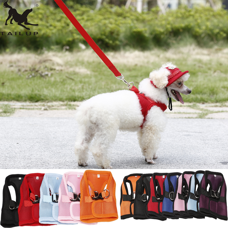 TAILUP 통기성 애완 동물 조끼 Harness Outdoor Leash Leads for Small Dogs 강아지 Yorkie Patrol Accessories 6Sizes