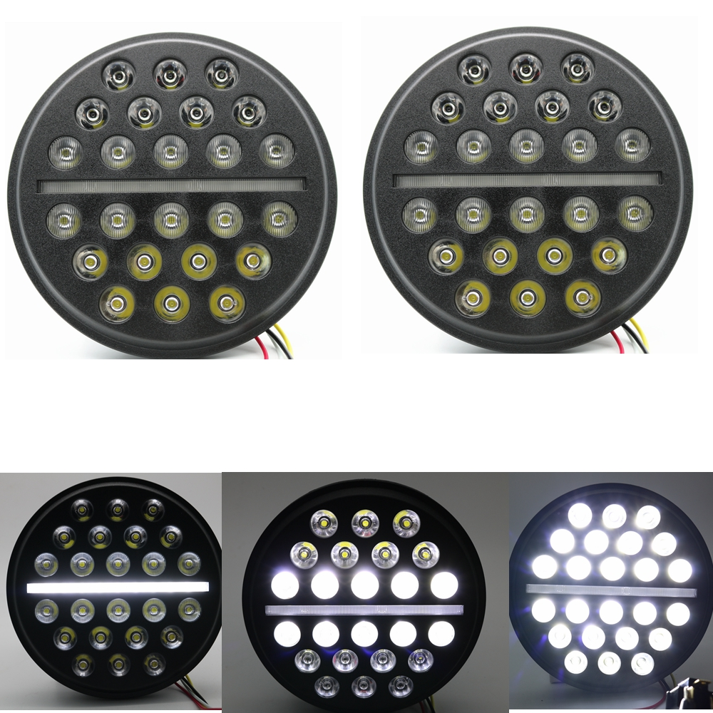 For Hummer Defender 7Round LED Headlight H4 High/Low beam Auto Headlight With White DRL For Jeep Wrangler JK TJ For Lada 4x4