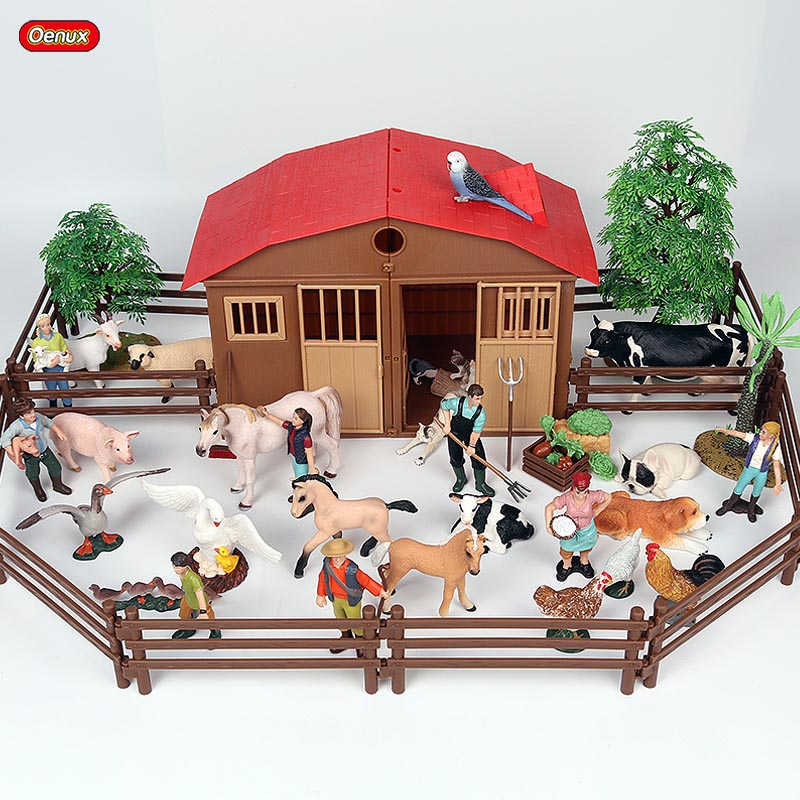 Oenux Zoo Farm House Model Action Figures Farmer Cow Hen Duck Poultry Animals Set Figurine Miniature Lovely Educational Kids Toy