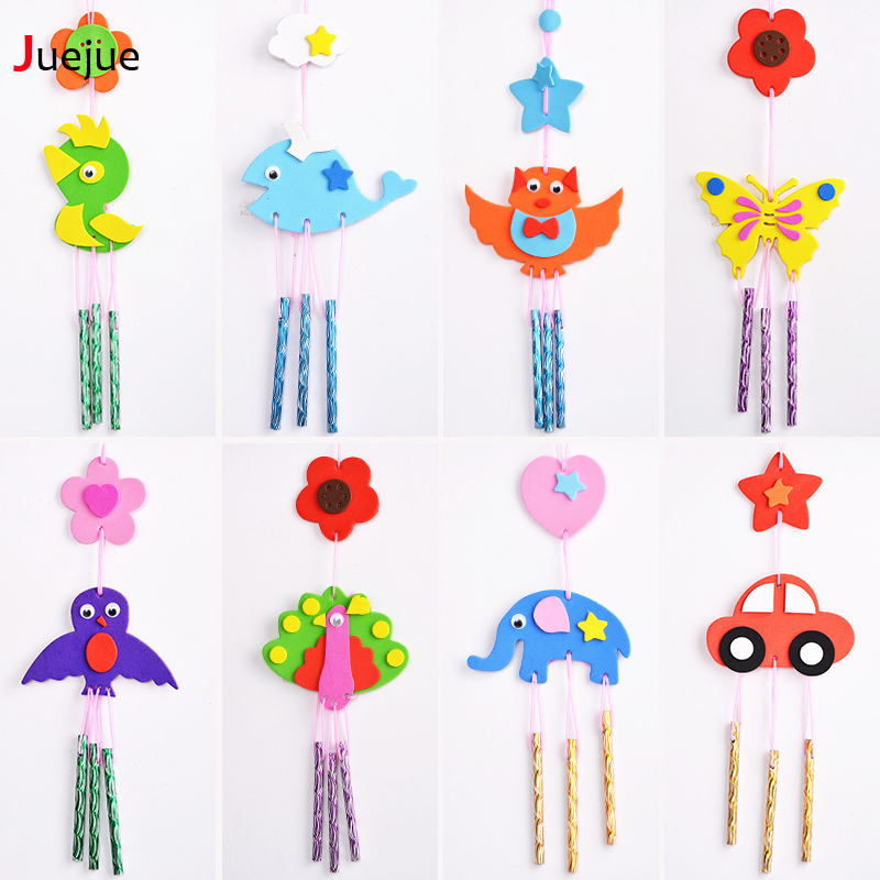 Eva sticker wind chimes kids children easy crafts toys for How to make a simple wind chime