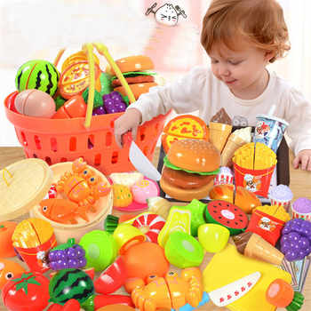 36PCS Plastic Kitchen Toy Shopping Cart Set Cutting Fruit Vegetable Food Pretend Play House Education Toys Basket for Girl Kid