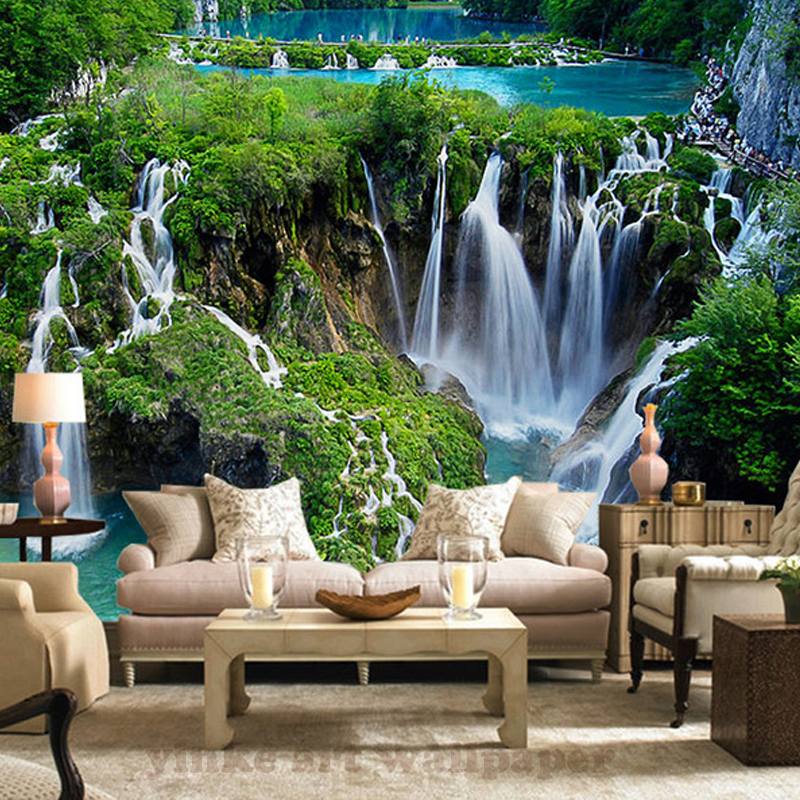 photo 3d park waterfall wall murals wallpaper green tree frost wall mural for living room tv. Black Bedroom Furniture Sets. Home Design Ideas