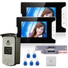 On sale 7″ Color Video Door Phone Intercom System With 2 Monitor 1 RFID HD Doorbell 1000TVL Camera + Electric Strike Lock