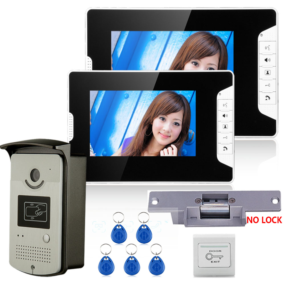 7 Color Video Door Phone Intercom System With 2 Monitor 1 RFID HD Doorbell 1000TVL Camera + Electric Strike Lock