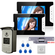 7″ Color Video Door Phone Intercom System With 2 Monitor 1 RFID HD Doorbell 1000TVL Camera + Electric Strike Lock