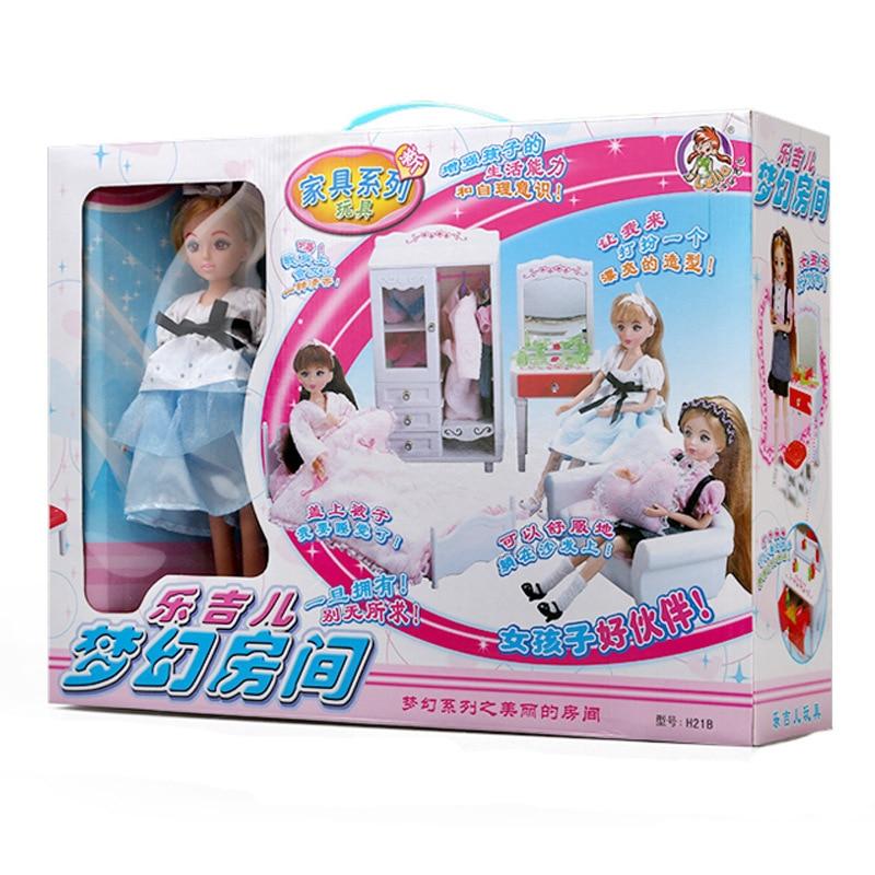 5-i-1 Super Miniatyr Sovrumsmöbler Kombination Dollhouse Toy - Dockor och tillbehör - Foto 5