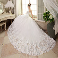new spring/summer 2016 Ruffle Lace Long Tail Wedding Dresses Sexy Plus Size Vintage Belt Vestidos Bridal Dress