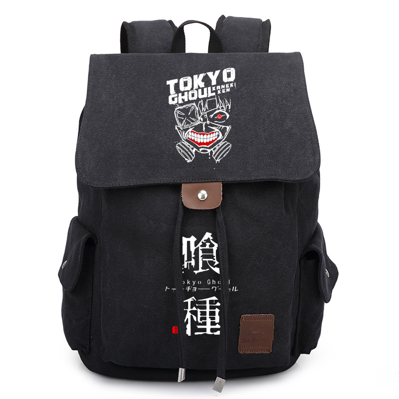 Vintage Japan Anime Tokyo Ghoul kaneki ken Jin Muyan Printed Bag Backpack Travel Canvas Book School Men Women Boy Girls Bag Gift 2017 anime cartoon tokyo ghoul bag kaneki ken school bags travel durable teenager school tokyo ghoul cosplay backpack