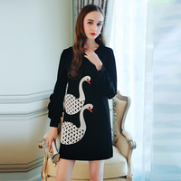 2017 Newest Autumn Swans Embroidery Women Cute Dress Hot Sale Fashion Full Petal Sleeve Above Knee