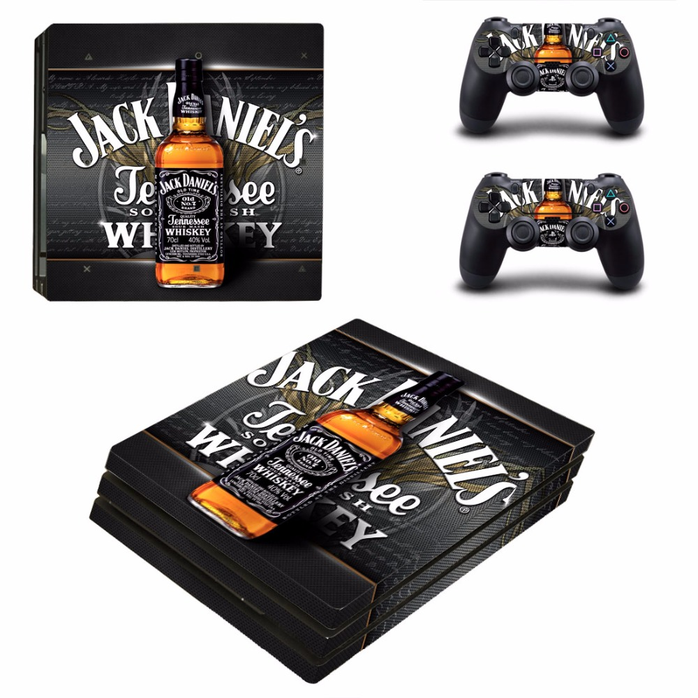 Jack Daniels PS4 Pro Skin Sticker For Sony PlayStation 4 Console and Controllers PS4 Pro Skin Stickers Decal Vinyl