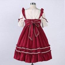 Summer Japanese Punk Gothic High waist short sleeve dress Lolita Dresses bow-knot