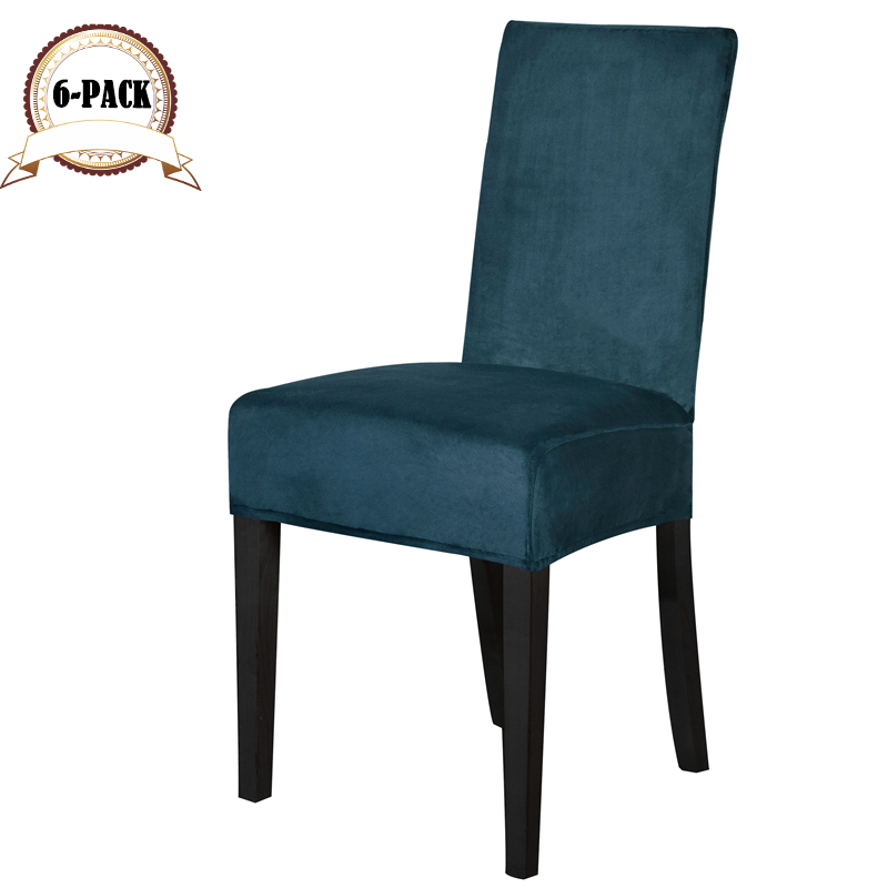 Dreamworld 6pcs Solid Color Stretch Chair Covers Home Spandex Velvet Chair Covers Dining Plain Dyed Black