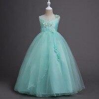 פרח Appliqued בנות ילדים המפלגה נסיכת שמלת קיץ ארוך שמלות רשמיות לחתונה עד אורך רצפת בגדי בנות להתלבש