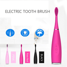 Electric Sonic Silicone Toothbrush Teeth Whitening Silicone Brush Head Replacement Oral Care Waterproof Dental Deep Clean kids sonic electric toothbrush colorful led lighting waterproof soft brush heads bristles teeth oral care pink or green
