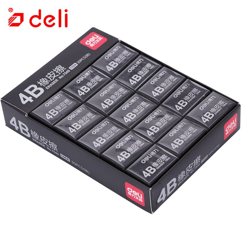 Deli 30pcs 4B Art Erasers Stationery for Students Wholesale Soft Black Color Eraser For School And Office Supplies Pencil Eraser