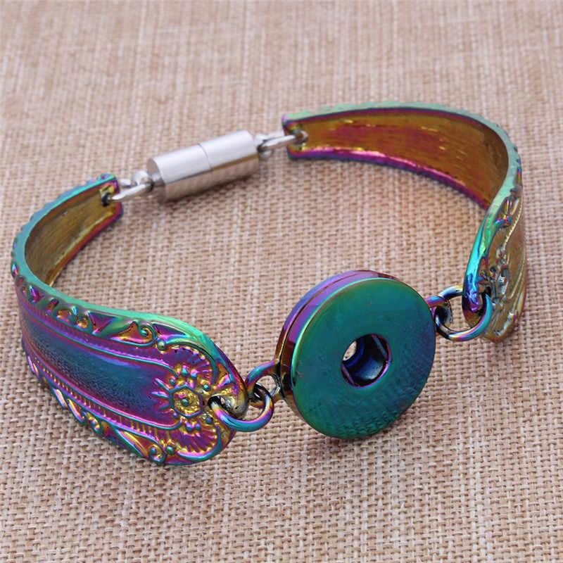 החדש צבעוני מגנטי שעונים צמיד הצמד תכשיטי Pulseras Fit 20 MM 18 MM כפתורי הצמד מתכת כסף צמיד לנשים ZE039