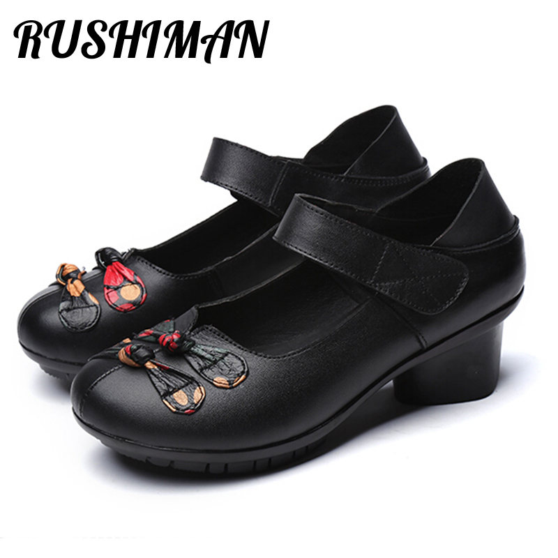 RUSHIMAN Spring Autumn The Leather Shoes Of The Women'S Shoes In Leather Shoes With The Dancing Single Shoes Eur Size 35-41 new children s shoes in the spring of autumn boy girls running shoes casual shoes eur 31 37 yxx
