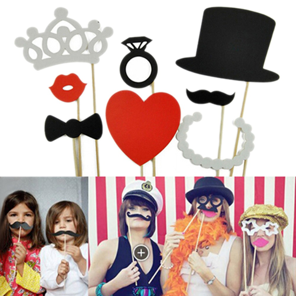 8 Pcs Photo Booth Props Mustache Lip Ring Heart Crown Stick Party Decoration Event & Party Supplies