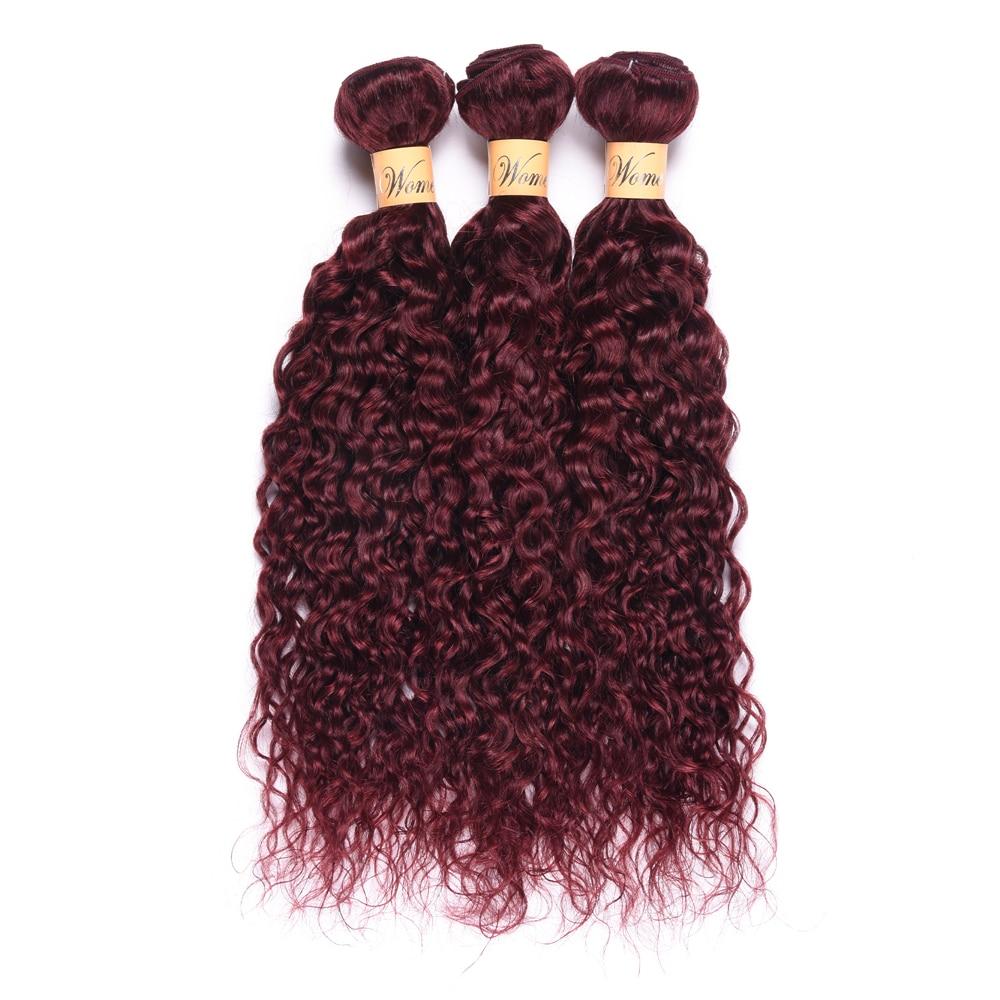 Wome Pre-colored Brazilian Hair Weave Bundles Water Wave 99j Burgundy Hair Weave Cheap Brazilian Hair Weave Bundles