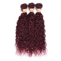 Wome Pre colored Brazilian Hair Weave Bundles Water Wave 99j Burgundy Hair Weave Cheap Brazilian Hair Weave Bundles
