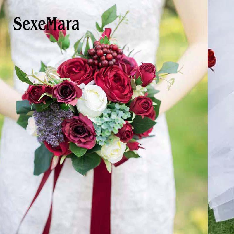 Romantic Bridal Bouquets Burgundy Rose Berry Handmade Artifical Flower Bouquet Wedding Bridesmaid Ramo Novia Bouquet