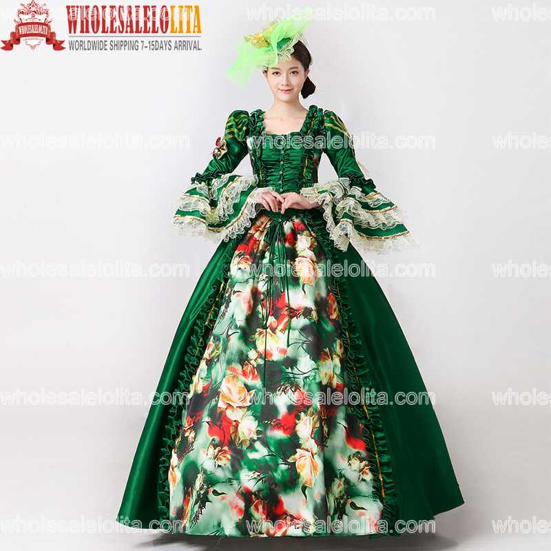2017 Royal Green Floral Printed Marie Antoinette Dress Medieval Civil War Southern Belle Ball Gowns Women Reenactment Clothing