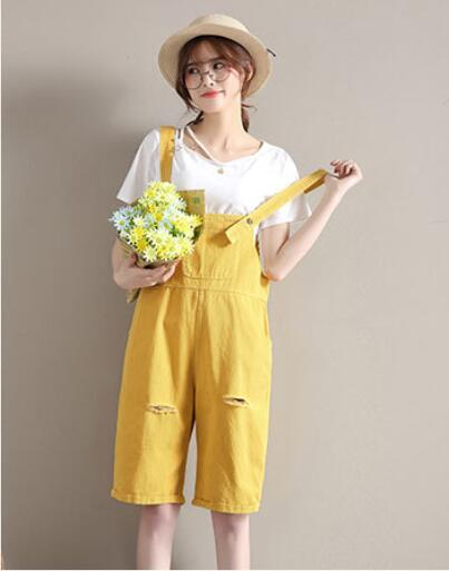 2018 summer harness cowboy female high waist loose hole cute fresh candy color casual jumpsuit