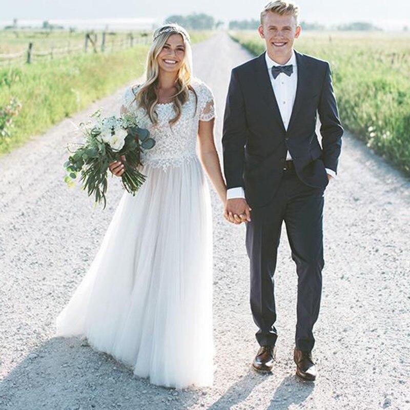 LORIE robe de mariée manches courtes Scoop dentelle Top une ligne Tulle jupe plage robe de mariée Boho robe de mariée livraison gratuite 2019