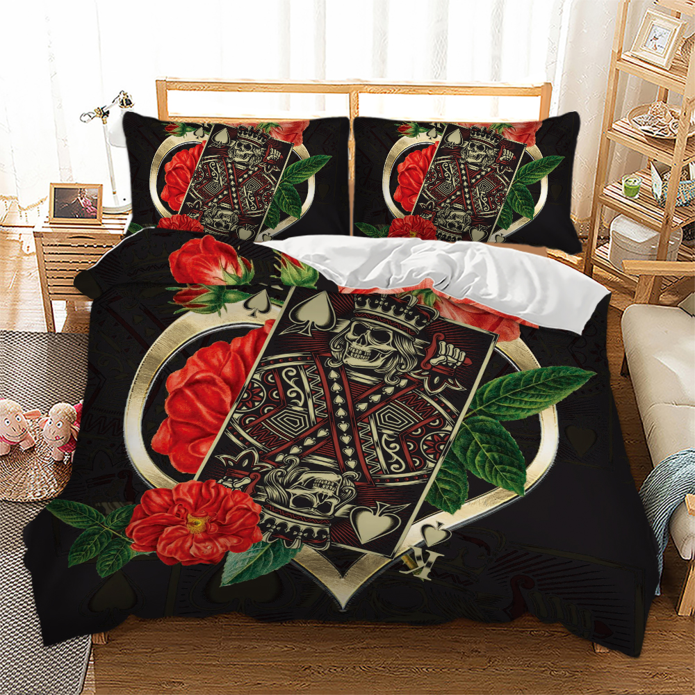 Wongs bedding Poker King Rose Bedding set 3D Print Duvet Cover Pillowcases Twin Full Queen King Size bed linen dropshipping in Bedding Sets from Home Garden