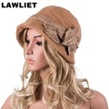 A374 Warm and Soft Winter Women Church Hat with High quality Wool Felt Fedora Cloche Hat Cap