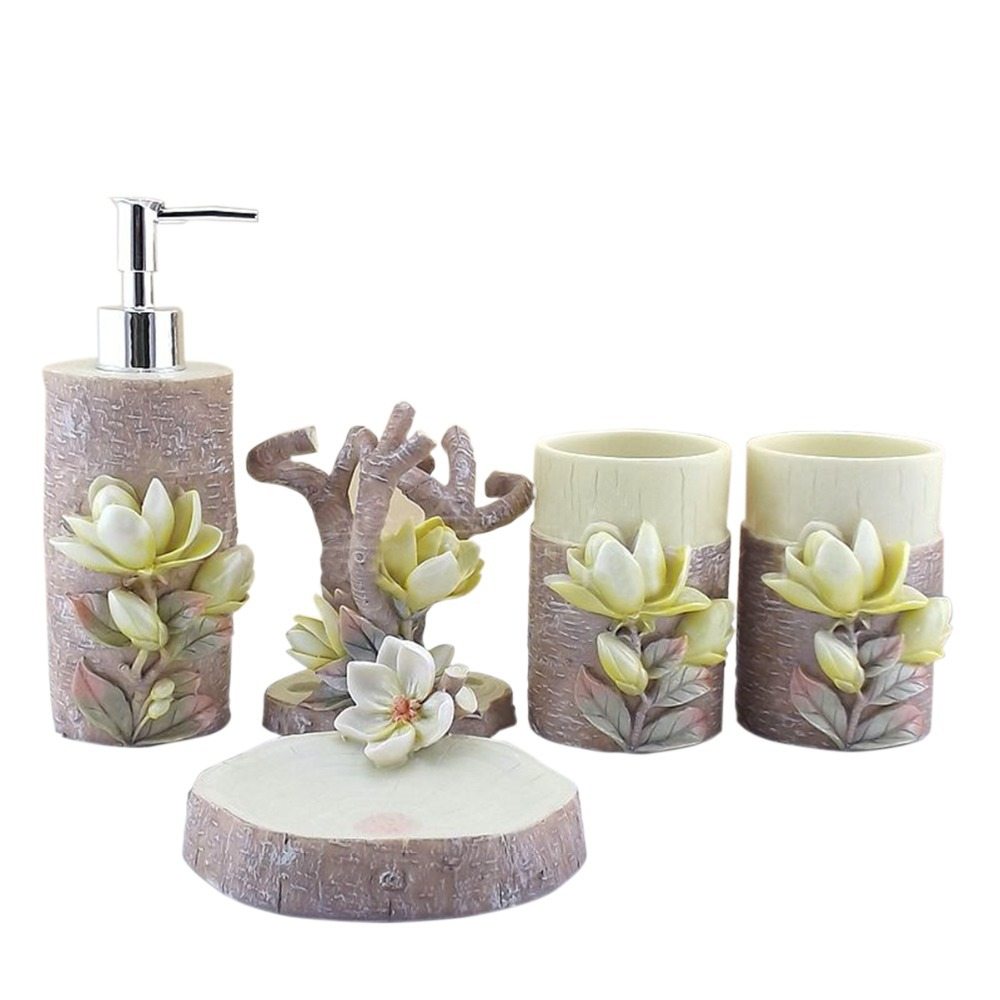 . US  99 98  Personality 5Pcs 3D Lily Sculpture Resin Bathroom Accessories  Set Art DIY Engraved Bath Set Toothbrush Holder Soap Dish Wash Sey in