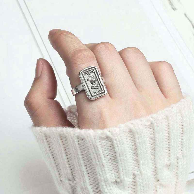 Silvology 925 Sterling Silver Square Figure Rings Vintage Do Old Coin Creative Venus Rings For Women 2019 Elegant Korea Jewelry