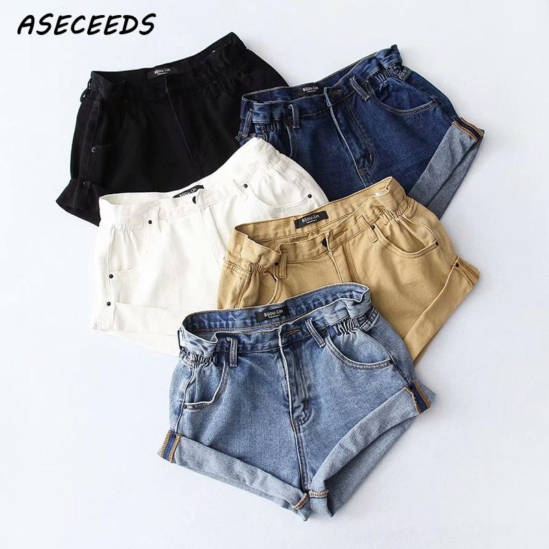 Vintage Black Khaki Cotton Denim Shorts Women Elastic High Waist Shorts Summer Casual Hot Slim Jean Shorts Clothing 2019