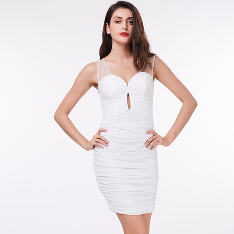 fbdde231f Tanpell V cuello vestido de cóctel blanco por encima de la rodilla Pleats vestido  recto barato mujeres negro fiesta corto vestidos de cóctel. 1 2 3 4 ...