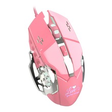 Zienstar Pink Optical Lovely Wired USB Mouse with white Backlit ,3200DPI for Macbook,Computer PC,Laptop,Valentines Day Gift